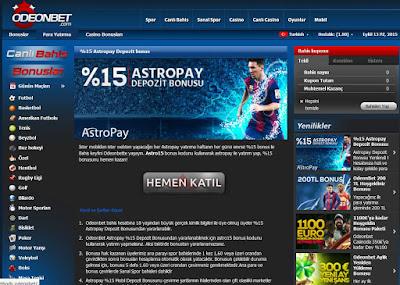 Odeonbet %15 Astropay depozit bonusu yazısı