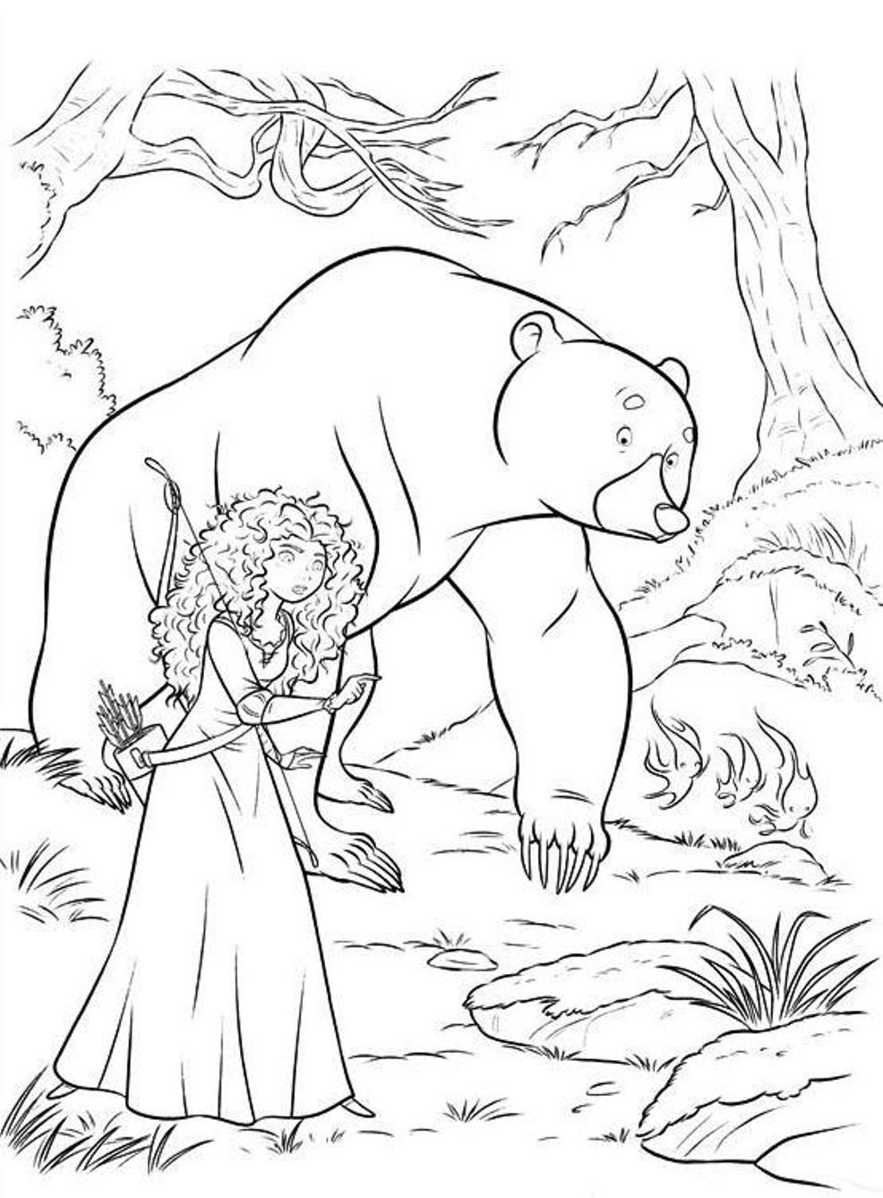 Bear And Merida Brave Coloring Pages
