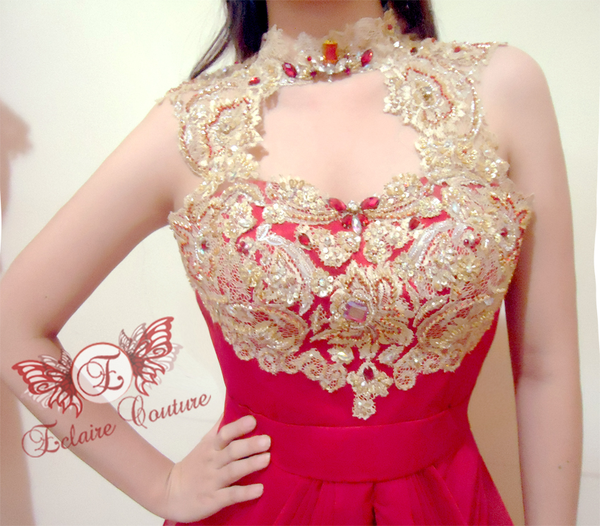 Wedding Gown Surabaya: Eclaire Couture: Red Dress With Gold Brocade (Novi's