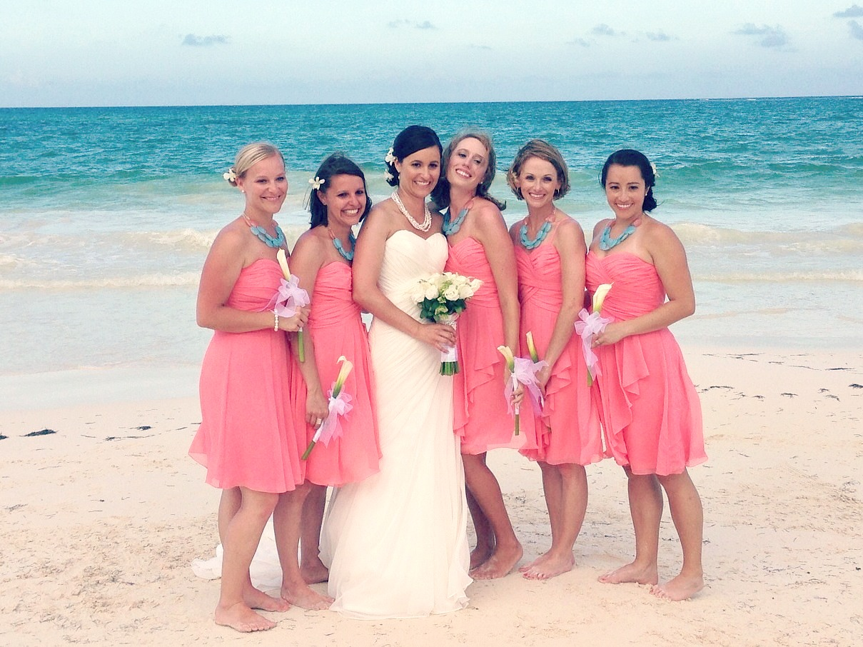 coral turquoise aqua wedding coral dress for wedding Bridesmaid bright coral dresses and aqua and coral statement necklace