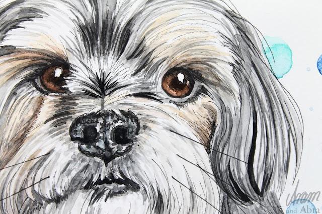 Yorkshire Terrier-Mix Jack, Ausschnitt, Aquarell nach Fotovorlage, DIN A5