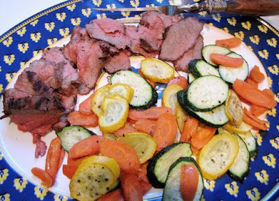 Plan no 5 Dinner - steamed zucchini with broiled steak