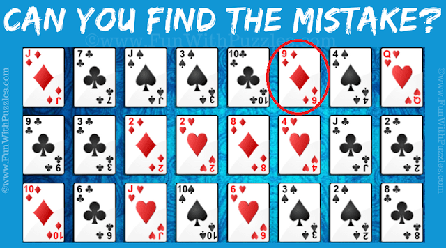 Answer of Picture Gallery Solitaire Game Mistake Puzzle