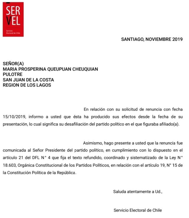 Prosperina Queupuan renuncia al partido Socialista de Chile