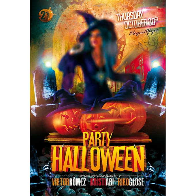 Halloween party theme poster PSD source file free psd template