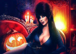 Naughty pumpkin eyeing Elvira's pumpkins