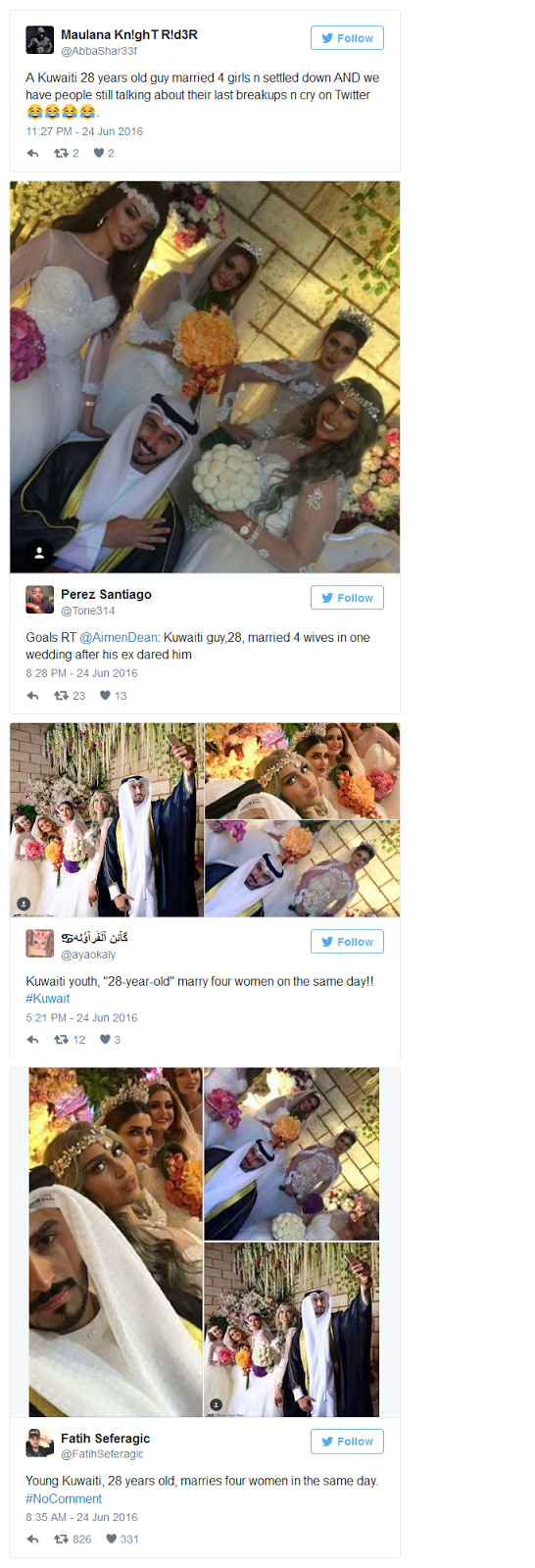 Ajaib, Pria Kuwait Ini Dalam Sehari Nikahi 4 Gadis Sekaligus