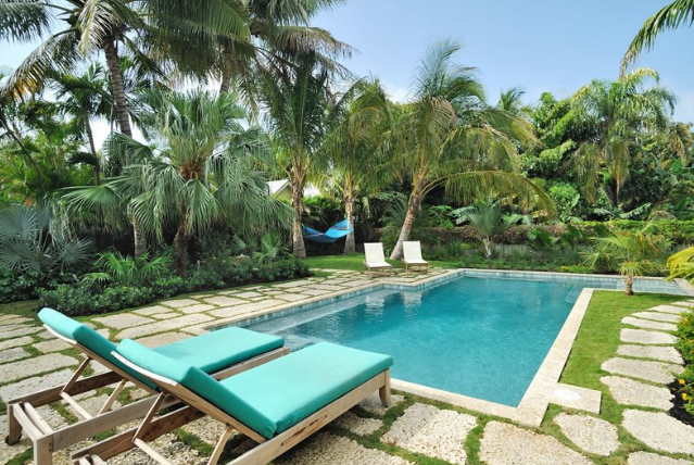 A tropical pool can bring a bit of the vacation atmosphere to your backyard