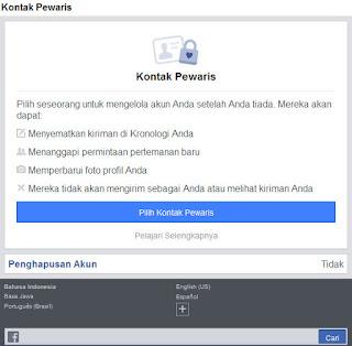 Kontak Pewaris ke Akun Facebook