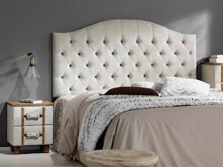 Cabecero para cama de 150 tapizado crema vintage