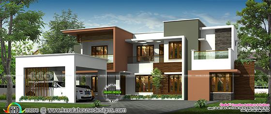 Front elevation of contemporary style home rendering