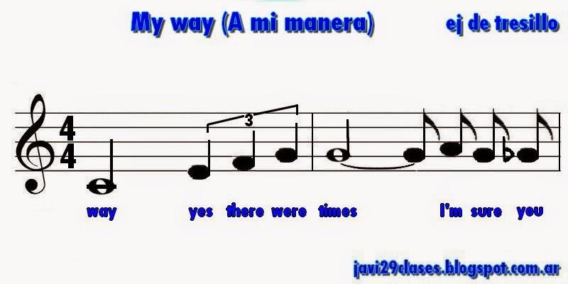 my way, a mi manera, tresillo, partitura