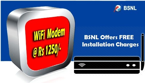 BSNL slashed sale price of ADSL WiFi Broadband modem to ₹1250/-