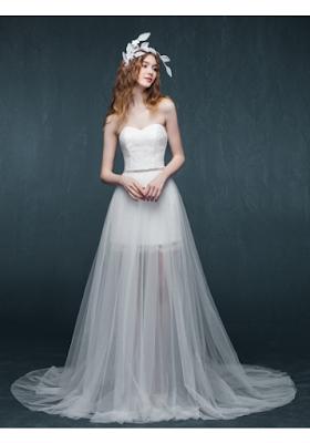A-Linie Herz-Ausschnitt bodenlang Ärmellos Tülle Wedding Dress