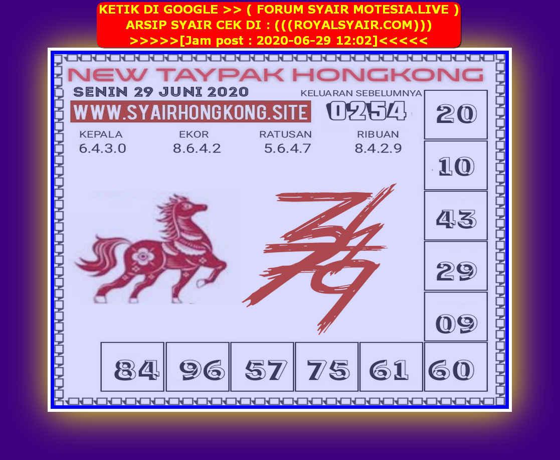 Kode syair Hongkong Senin 29 Juni 2020 258