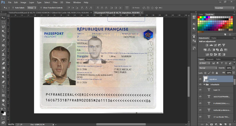 FRANCE Passport EDITABLE Template PSD