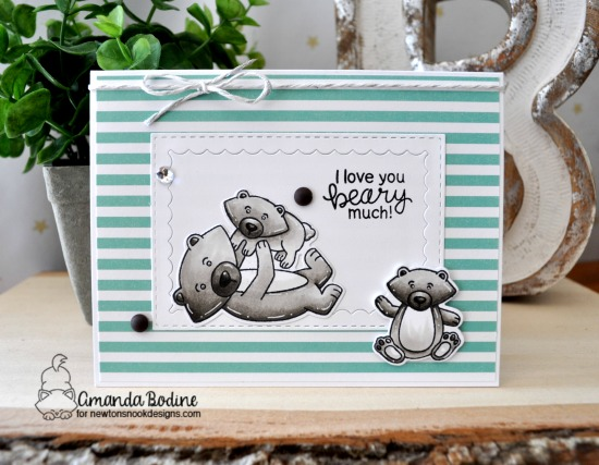 Father Bear and Cubs Card by Amanda Bodine | Papa Bear Stamp Set by Newton's Nook Designs #newtonsnook #handmade
