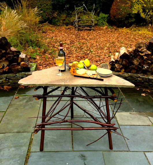 Pin Cherry and Blue Stone Corner Table