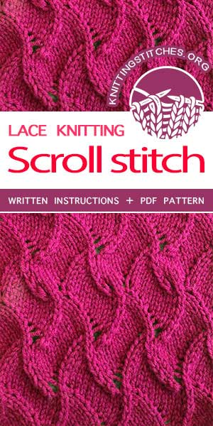 Knitting Stitches -- Free Knitting Lace Stitch with Written Pattern. Knit lacy scarves and shawls that are fun to wear. #knittingstitches #knittingpatterns