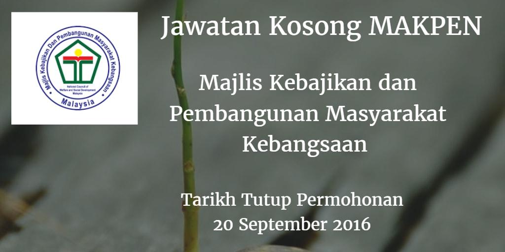Jawatan Kosong MAKPEN 20 September 2016
