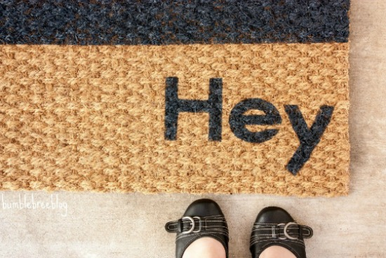 DIY hello goodbye doormat