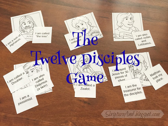 The Twelve Disciples Game | scriptureand.blogspot.com