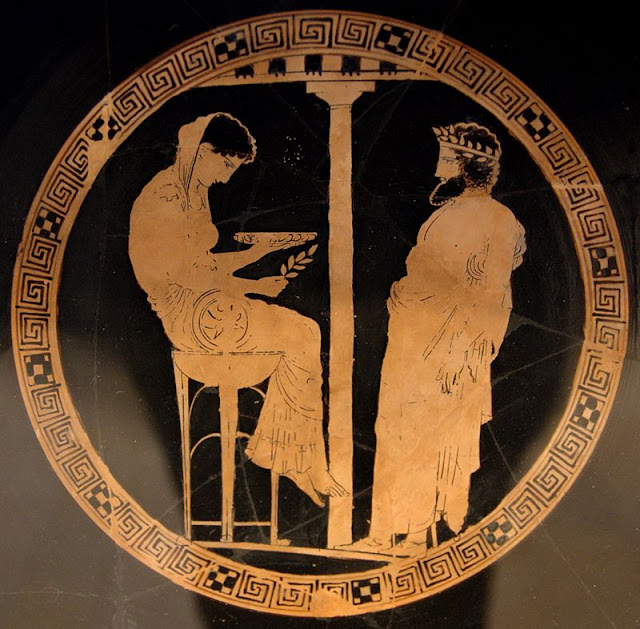 Aegeus consults with Themis, Oracle of Delphi. Circa 440–430 B.C.