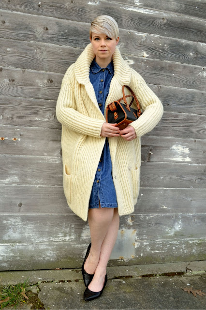 fleur d'elise, designer, miu miu, denim dress, short hair, vintage, fashion