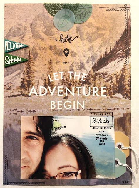 Let The Adventure Begin Scrapbook Page by Angela Tombari with Studio Calico September Kit