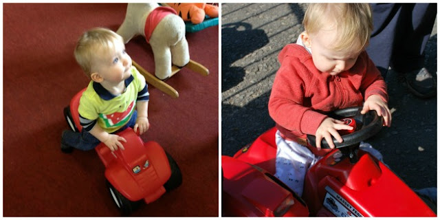 collage of baby riding on red car and red tractor