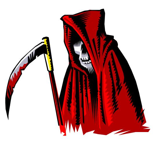 La muerte con capucha roja y su guadaña ensangrentada