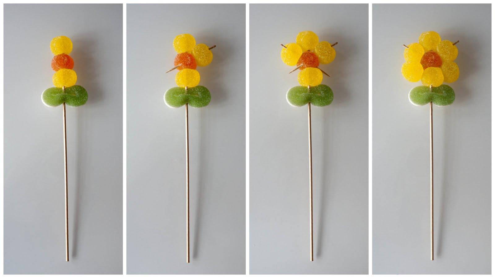 No sin mis hijos c mo hacer flores de gominolas para una for Pinchos de gominolas