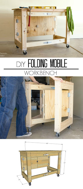 how to DIY tutorial wood easy workbench storage organization folding collapsible