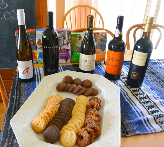 Girl Scout cookies and wines.