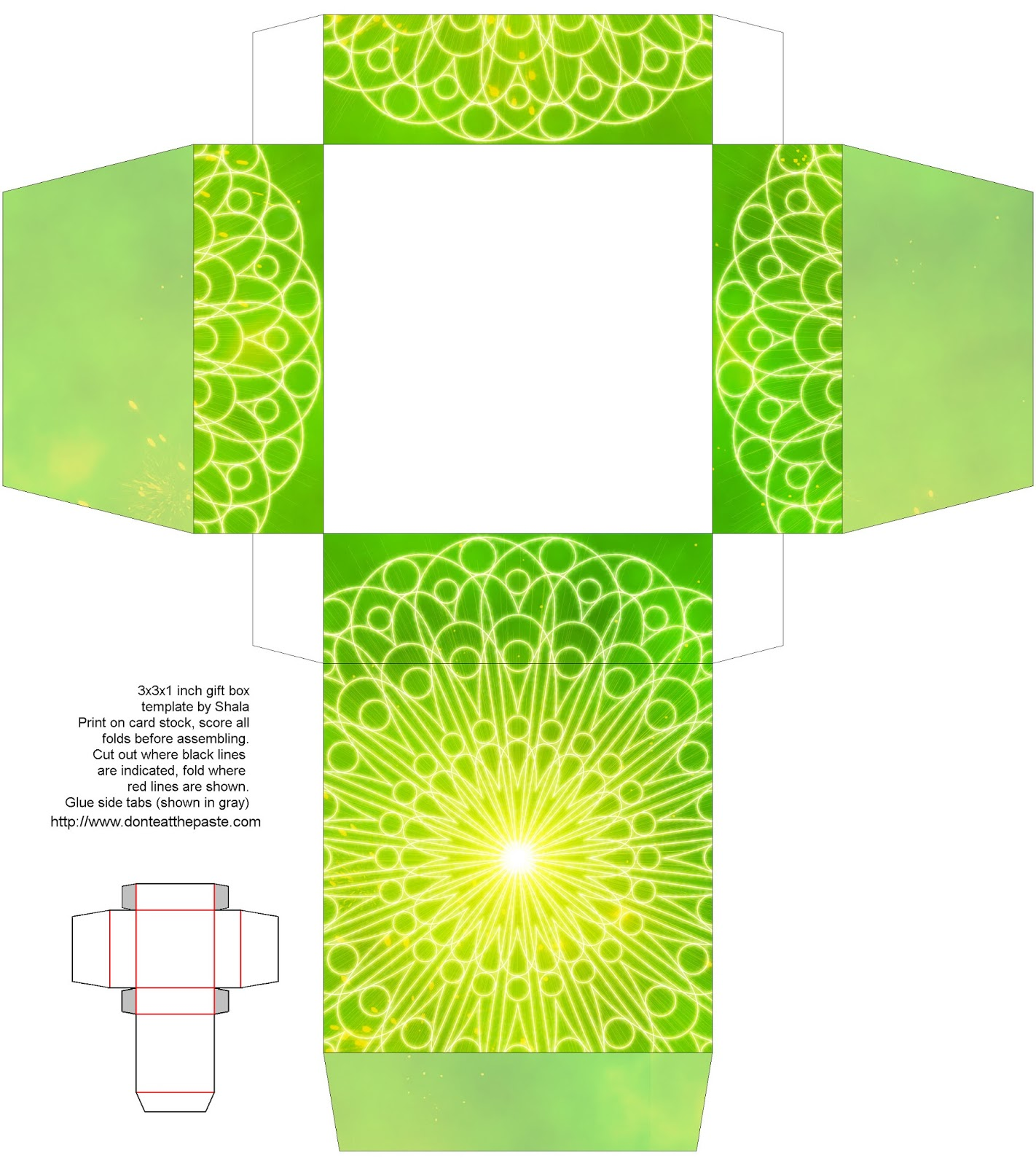 Green printable mandala box- also available in blue and orange