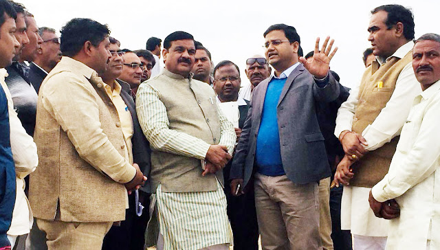 Legislator Techand Sharma and officials of the Agriculture Department visited Sam's distressed villages