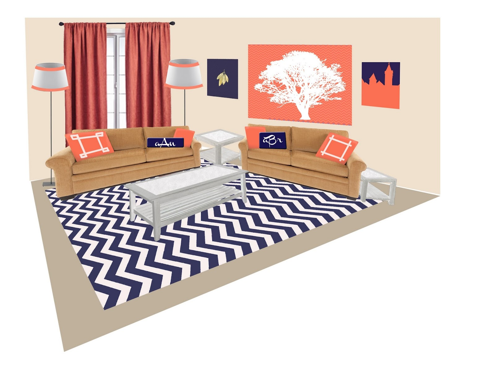 bricks and baubles: Coral + Navy Auburn Living Room