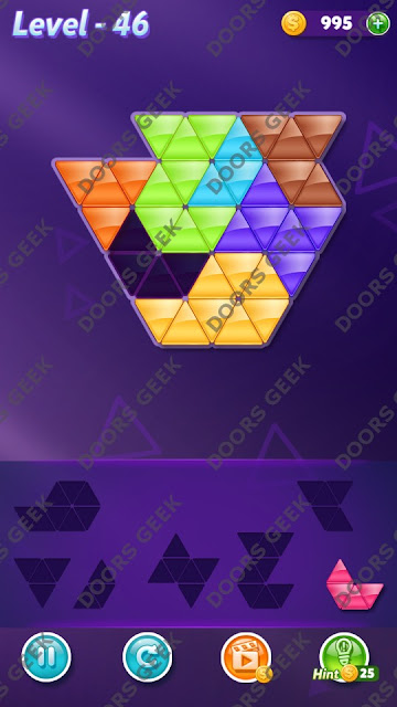 Block! Triangle Puzzle 7 Mania Level 46 Solution, Cheats, Walkthrough for Android, iPhone, iPad and iPod