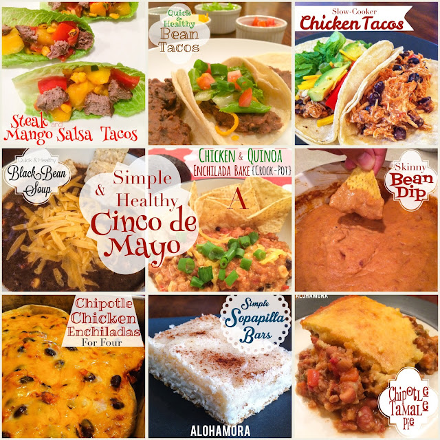 Menu of a healthy, simple, and easy to make Cinco de Mayo meal.  These 9 recipes are quick to make on the stove, or you can throw them into the crock-pot/slow cooker quickly.  Soups, appetizers, tacos, enchiladas, casseroles, and dessert.  Many gluten free, egg free, nut free, and even dairy free meals. Alohamora Open a Book http://www.alohamoraopenabook.blogspot.com/