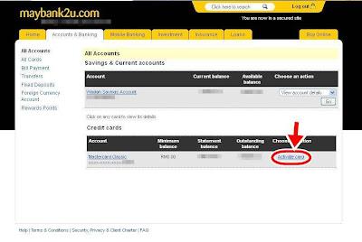 maybank2u - Pengaktifan Kad Kredit Baharu Secara Online
