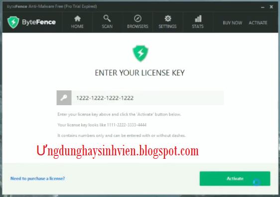 bytefence malware license key 2018
