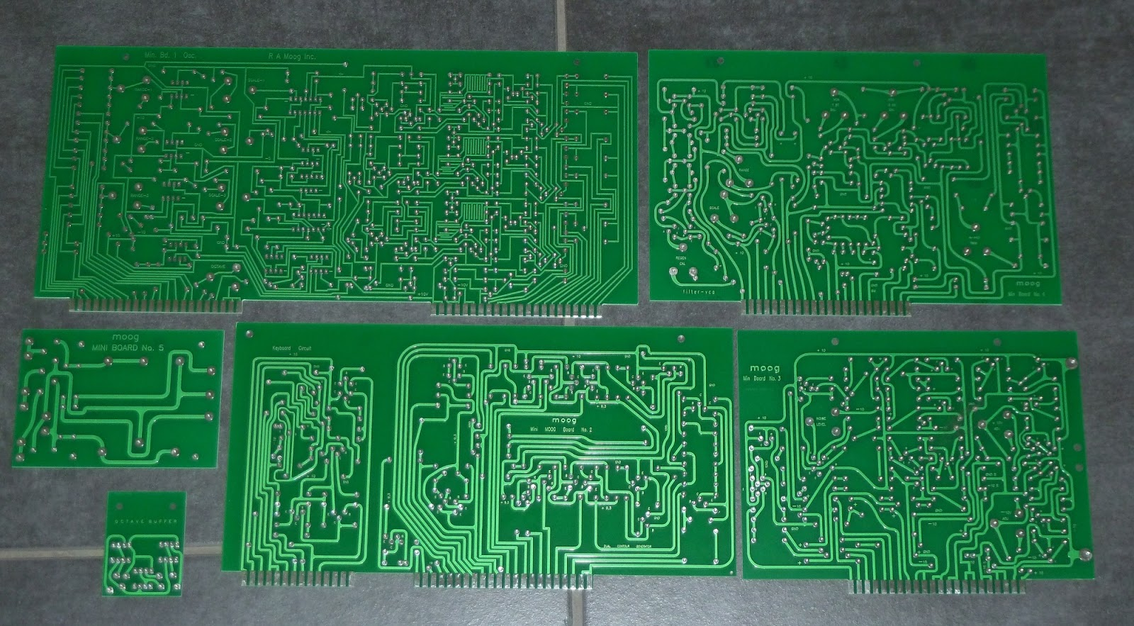 Inaptly Crafted Minimoog Replica Top View Of The Completed Circuit Board Waiting To Be Mounted On However Theres Another Shipment Arriving Later This Day Switches Card Edge Connectors And Some Other Items From Digikey