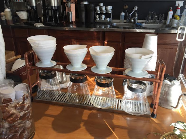 Pour over coffees at Hansa Coffee Roasters.