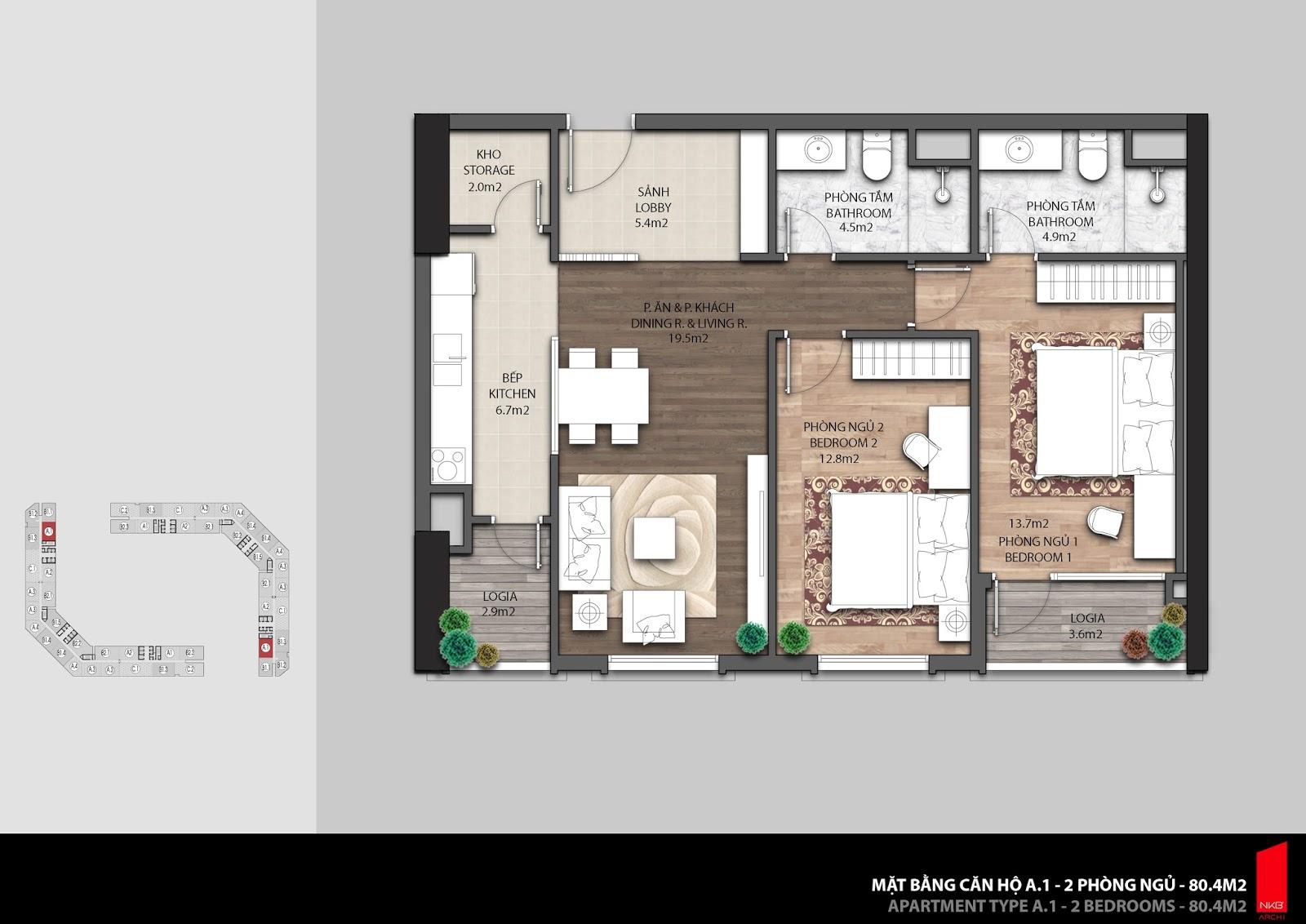 Mặt bằng căn hộ 80,4m2