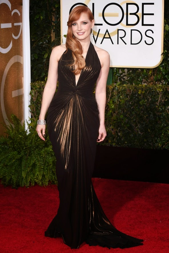 Jessica Chastain in a Versace gown at the Golden Globe Awards 2015