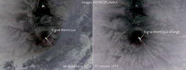 Possible coulée de lave sur le volcan Semeru, octobre 2015