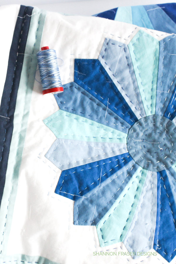 Hand quilting Blue Dresden Plate Quilt with Aurifil 12wt | Shannon Fraser Designs
