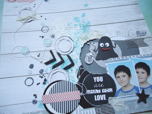 LO, kolorowy scrap z potworkiem