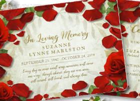 red rose petals & gold lettering ladies memorial service invitation