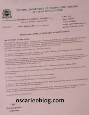 futo admission letter